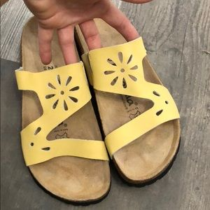 Betula Birkenstock Yellow Floral Leather Sandals